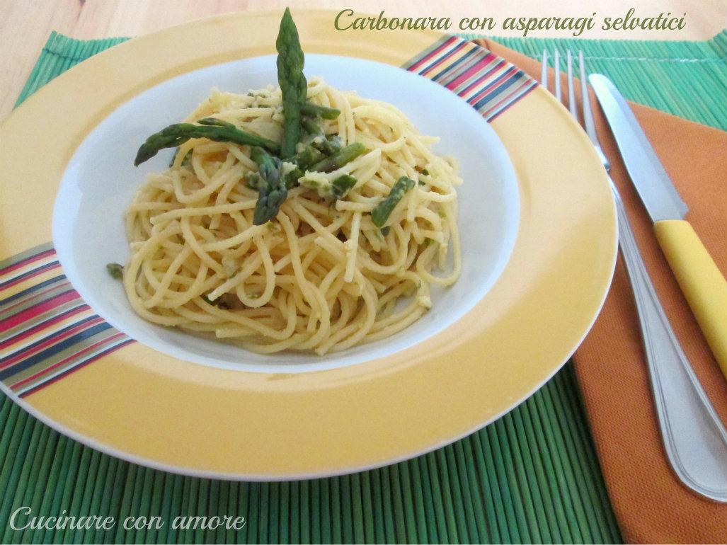 Carbonara con asparagi selvatici