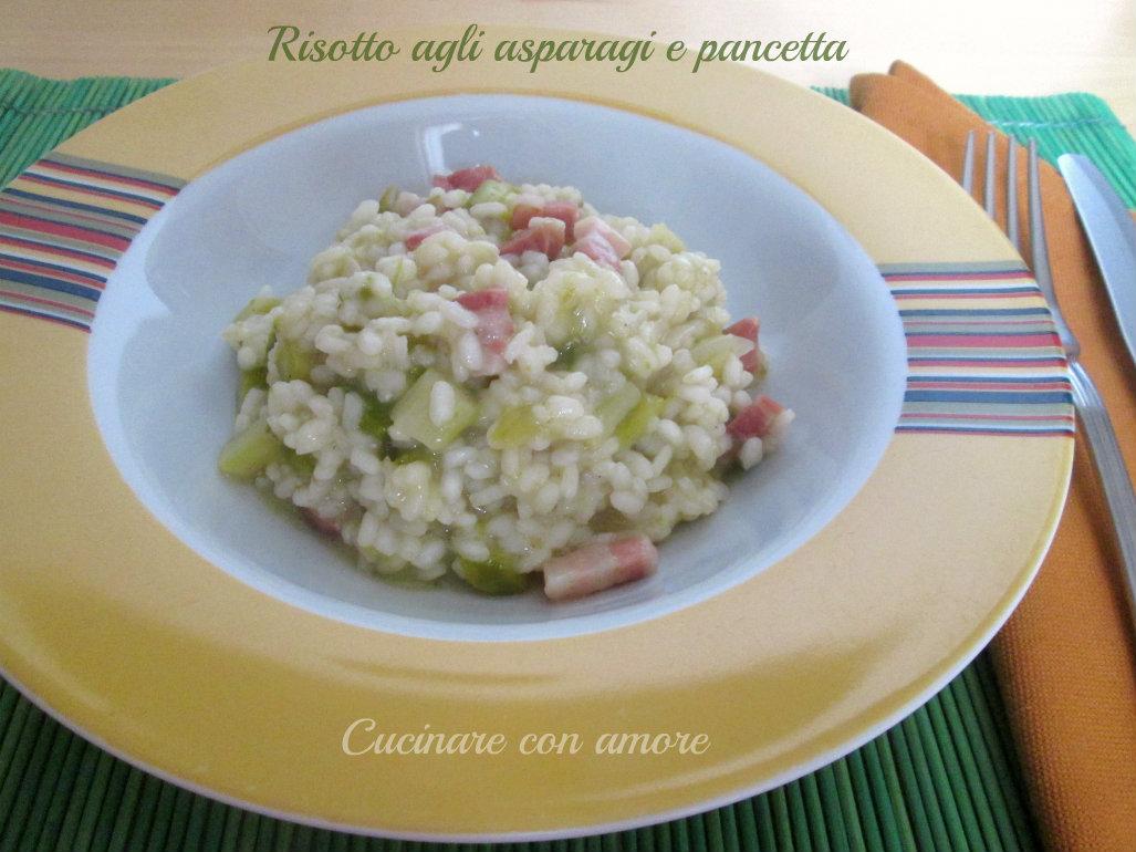 Risotto agli asparagi e pancetta cucinare con amore for Cucinare asparagi