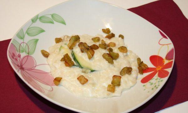 Risotto di melanzane e zucchine in crema di ricotta