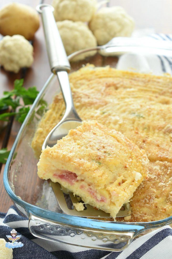 Gateau di cavolfiore con patate e pancetta