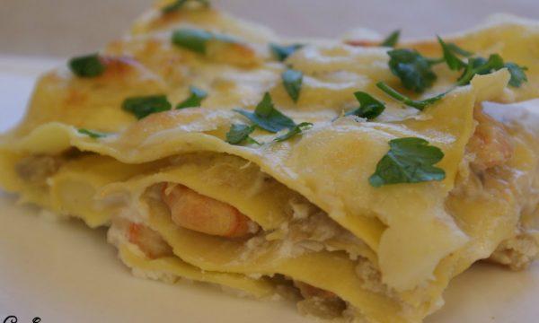 Lasagne ai carciofi e gamberetti