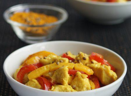 Bocconcini di pollo alle spezie con peperoni