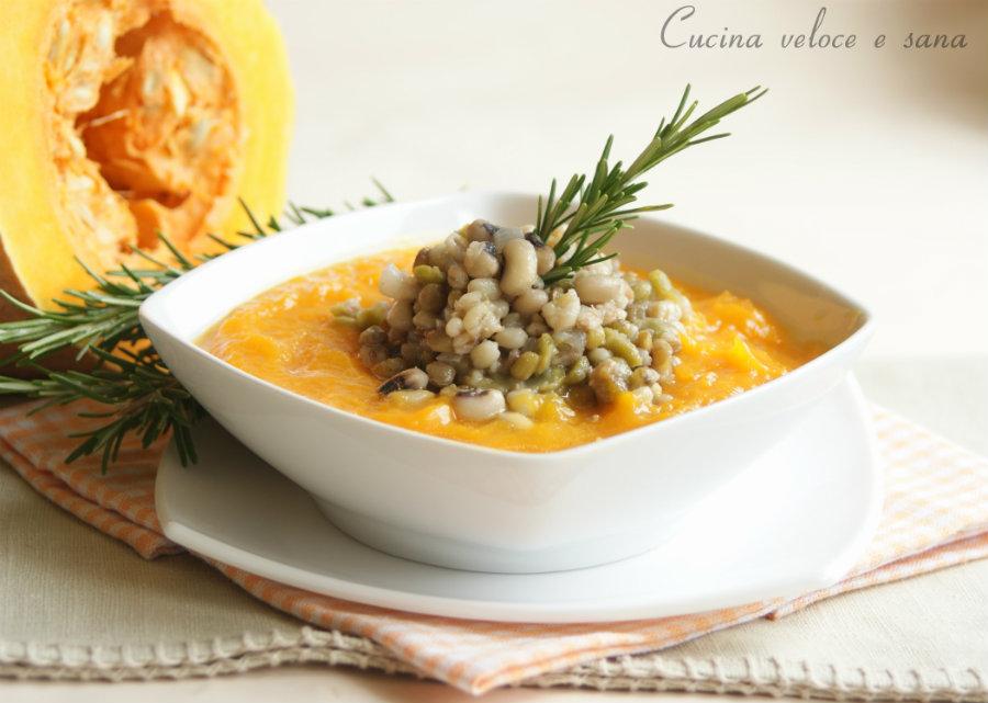 Vellutata di zucca con cereali e legumi cucina veloce e sana - Cucina veloce e sana ...