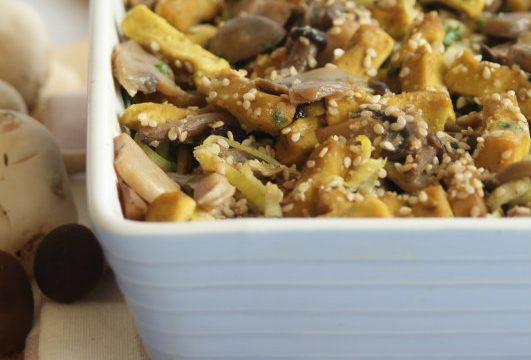 Stizikinzy, bocconcini di tofu e seitan gratinati ai funghi