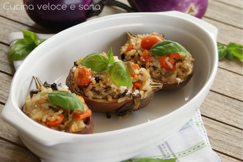Melanzane ripiene di riso cucina veloce e sana - Cucina veloce e sana ...