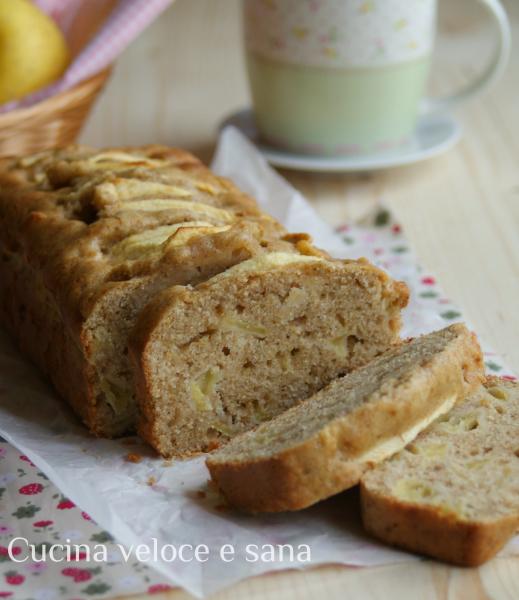 Plumcake alle mele con farina integrale cucina veloce e sana - Cucina veloce e sana ...