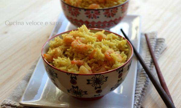 Riso al curry e gamberetti