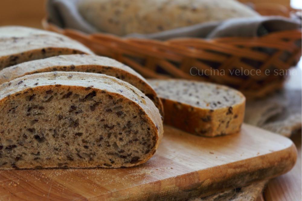 Disegno cucinare i semi di lino photographs : Pane al farro e semi di lino, con lievito madre