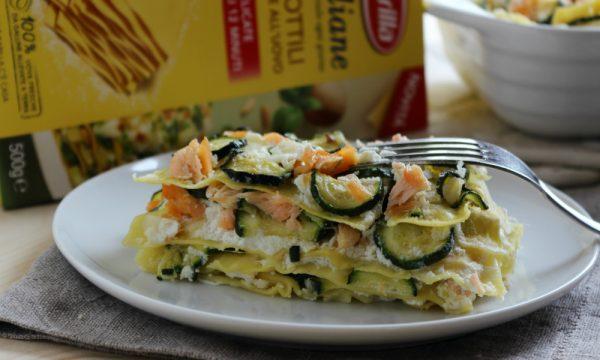 Lasagne con zucchine e salmone