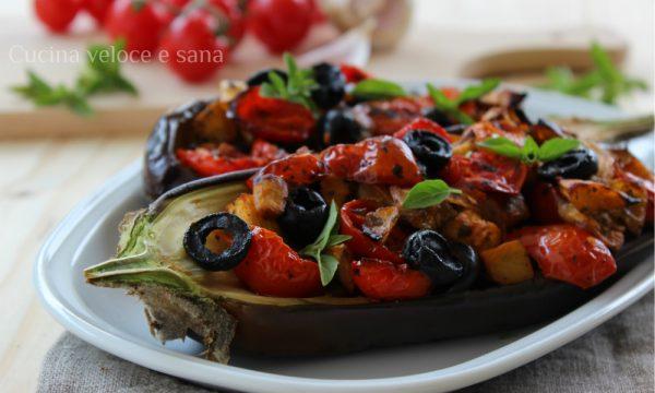 Melanzane farcite con pomodorini e olive
