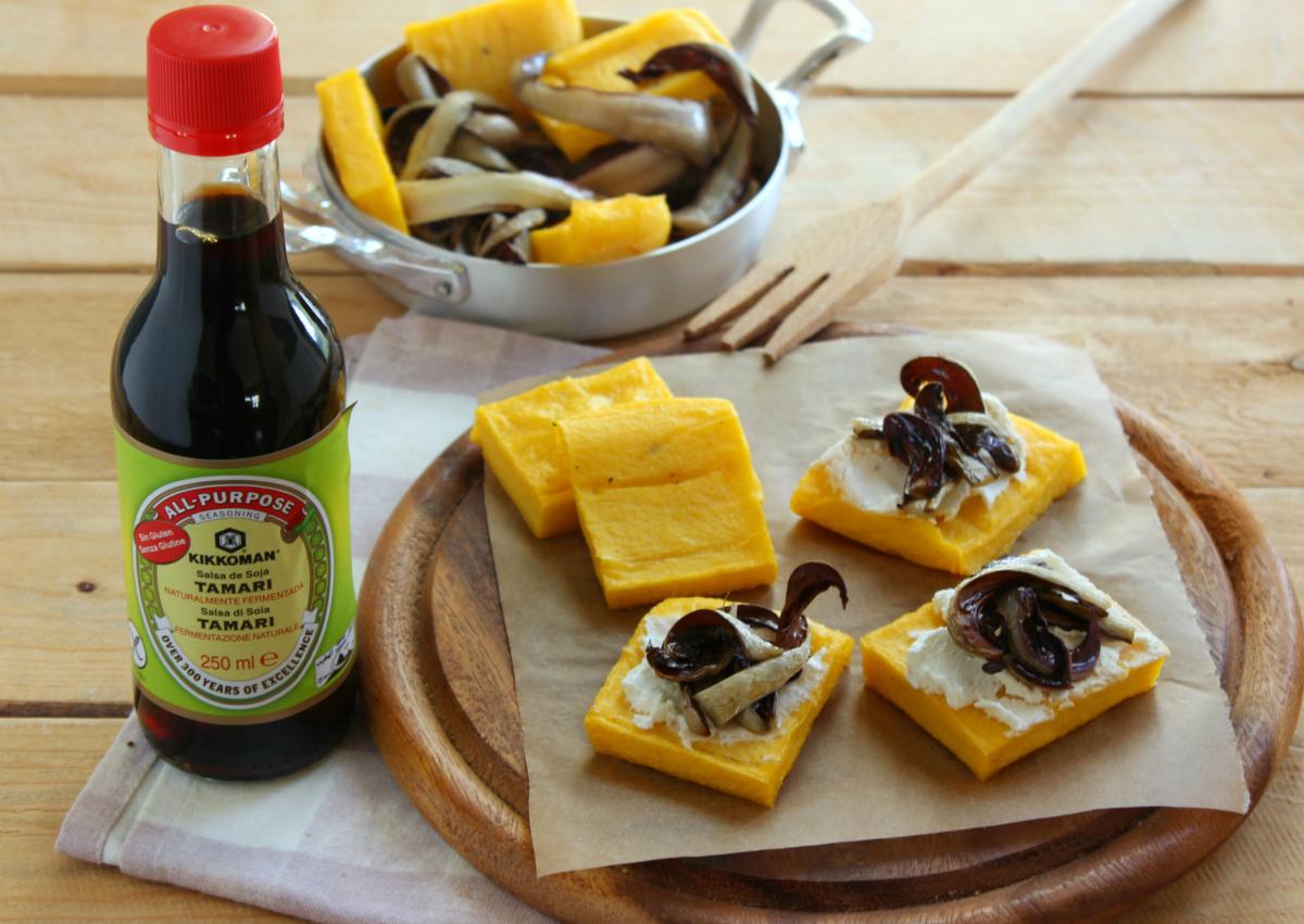 Crostini di polenta e  radicchio arrostito alla salsa di soia Tamari