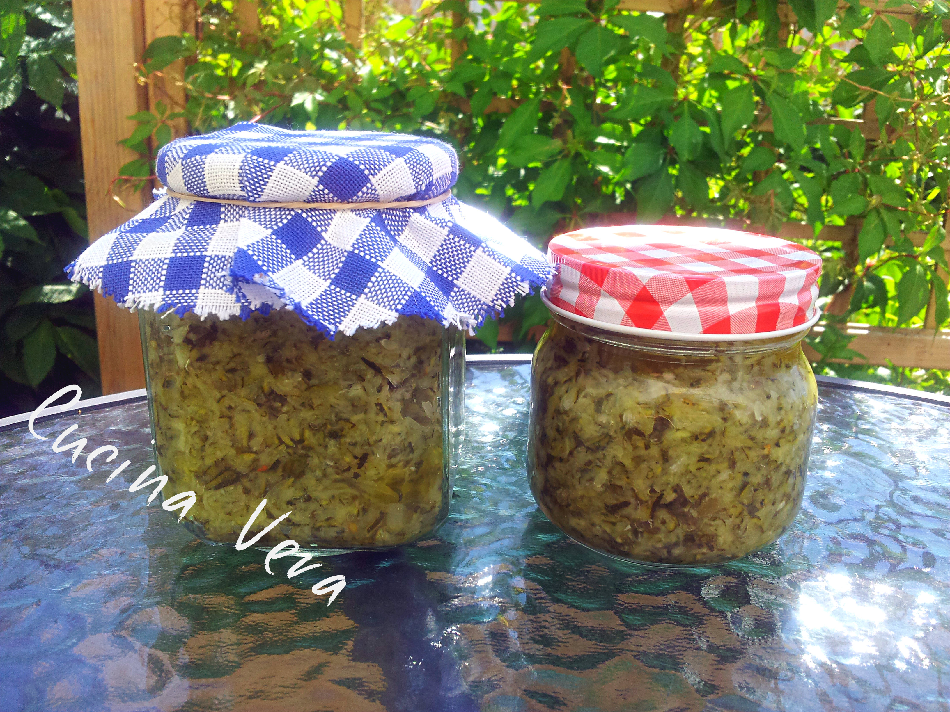 Zucchine grattugiate sott'aceto con erbette