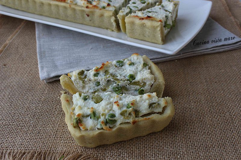 Torta salata ricotta fave e piselli