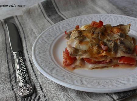 Lasagne funghi e pomodorini