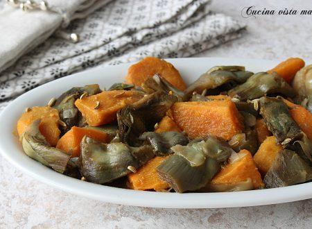 Patate dolci e carciofi in padella