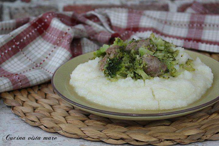 polenta bianca broccoli e salsiccia