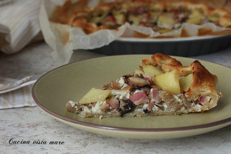 Torta salata funghi patate e speck