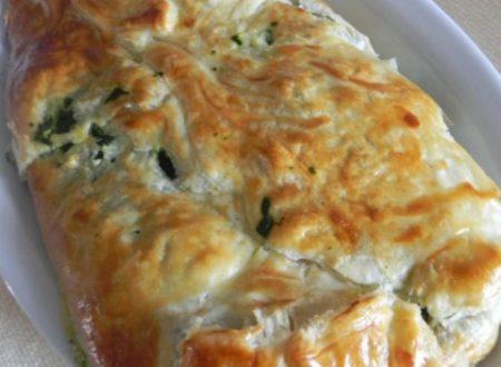 fagotto di sfoglia con spinaci,patate e mozzarella