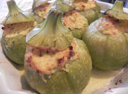 zucchine tonde ripiene di tonno al forno