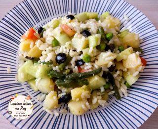 Insalata di riso freddo al pesto di basilico