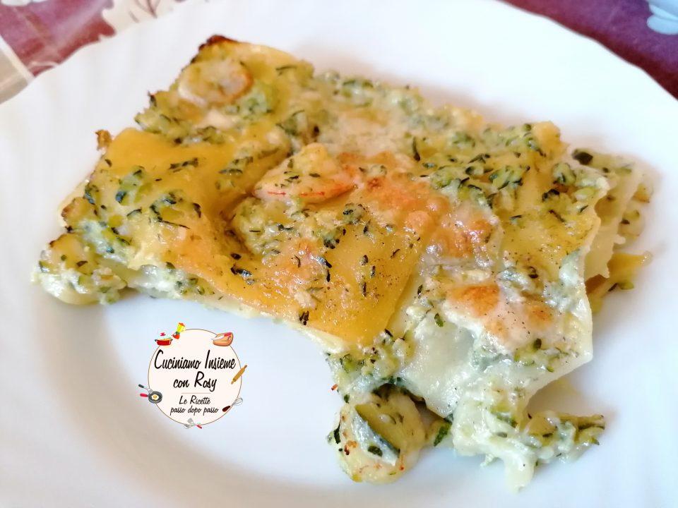 Lasagna zucchine e gamberetti senza besciamella