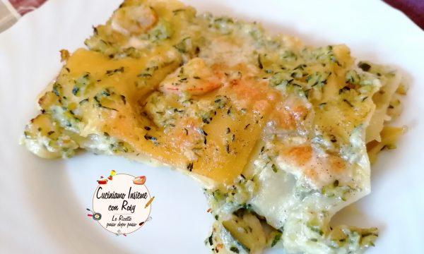 Lasagna zucchine e gamberetti (senza besciamella)