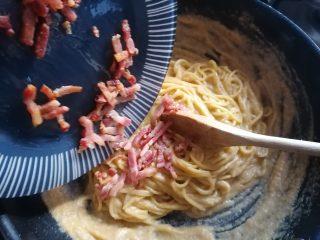 Spaghetti crema di verza e pancetta