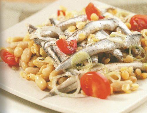 Alici marinate su fagioli e lenticchie