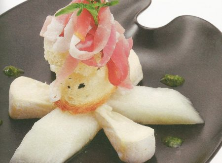 Rosa di melone con robiola e culatello di Zibello