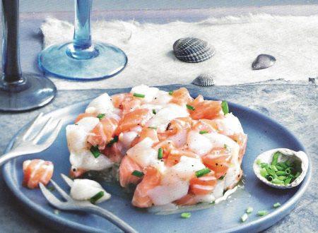 Tartare di capesante e salmone allo zenzero