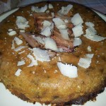 Sformato con zucca e porcini accompagnato da pancetta e parmigiano