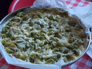 Torta salata pancetta  e cavoletti di Bruxelles