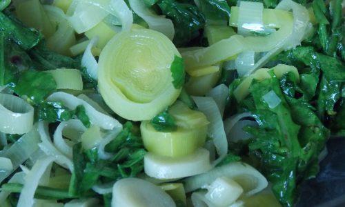 Torta salata rucola e porri