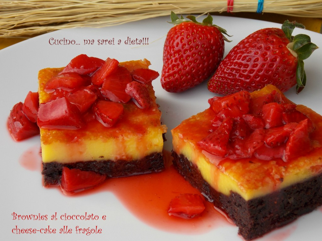 Brownie e chhesecake alle fragole