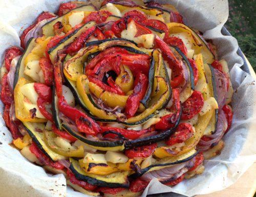 Verdure in forno in forma di rosa