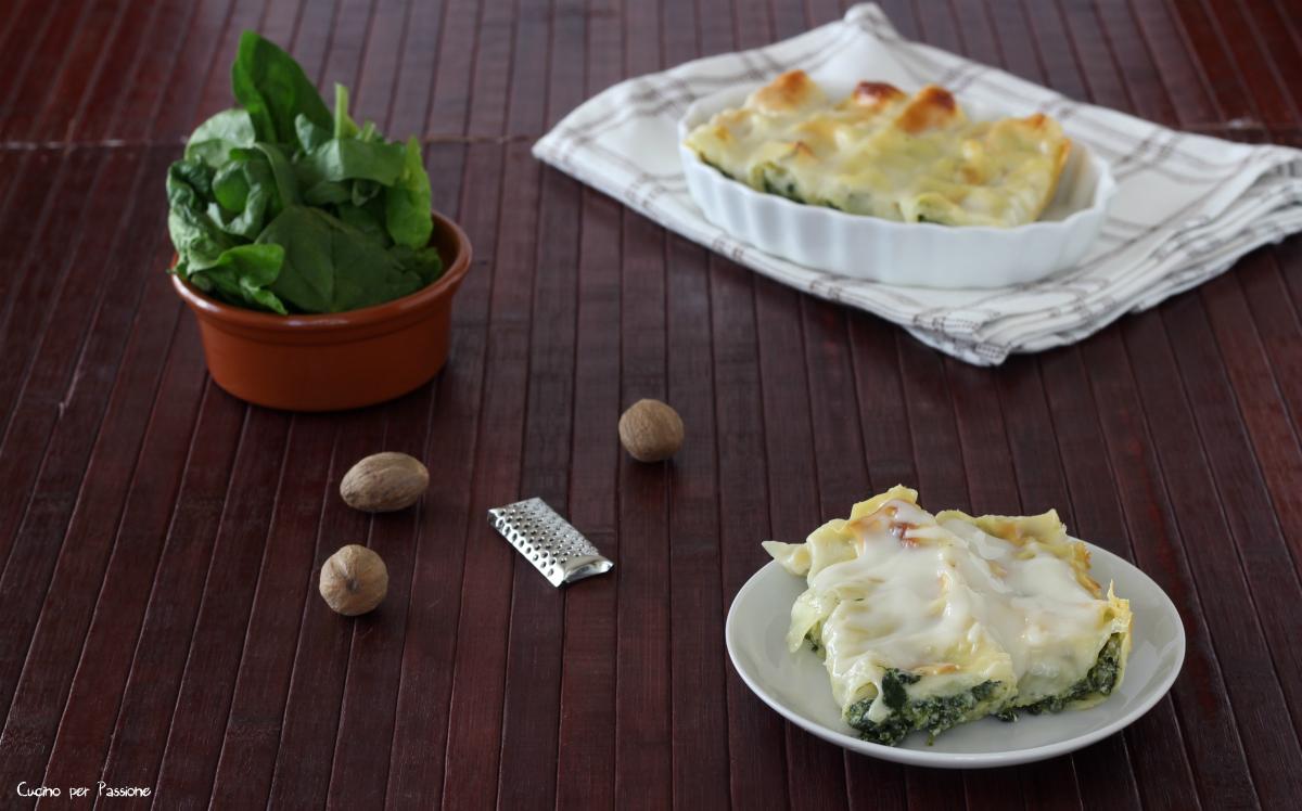 Cannelloni vegetariani con ricotta e spinaci