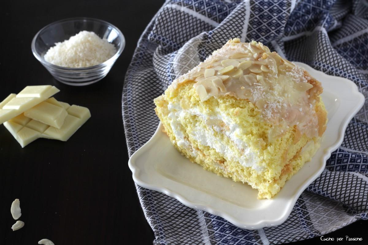 Rotolo dolce farcito con crema la cocco e mandorle