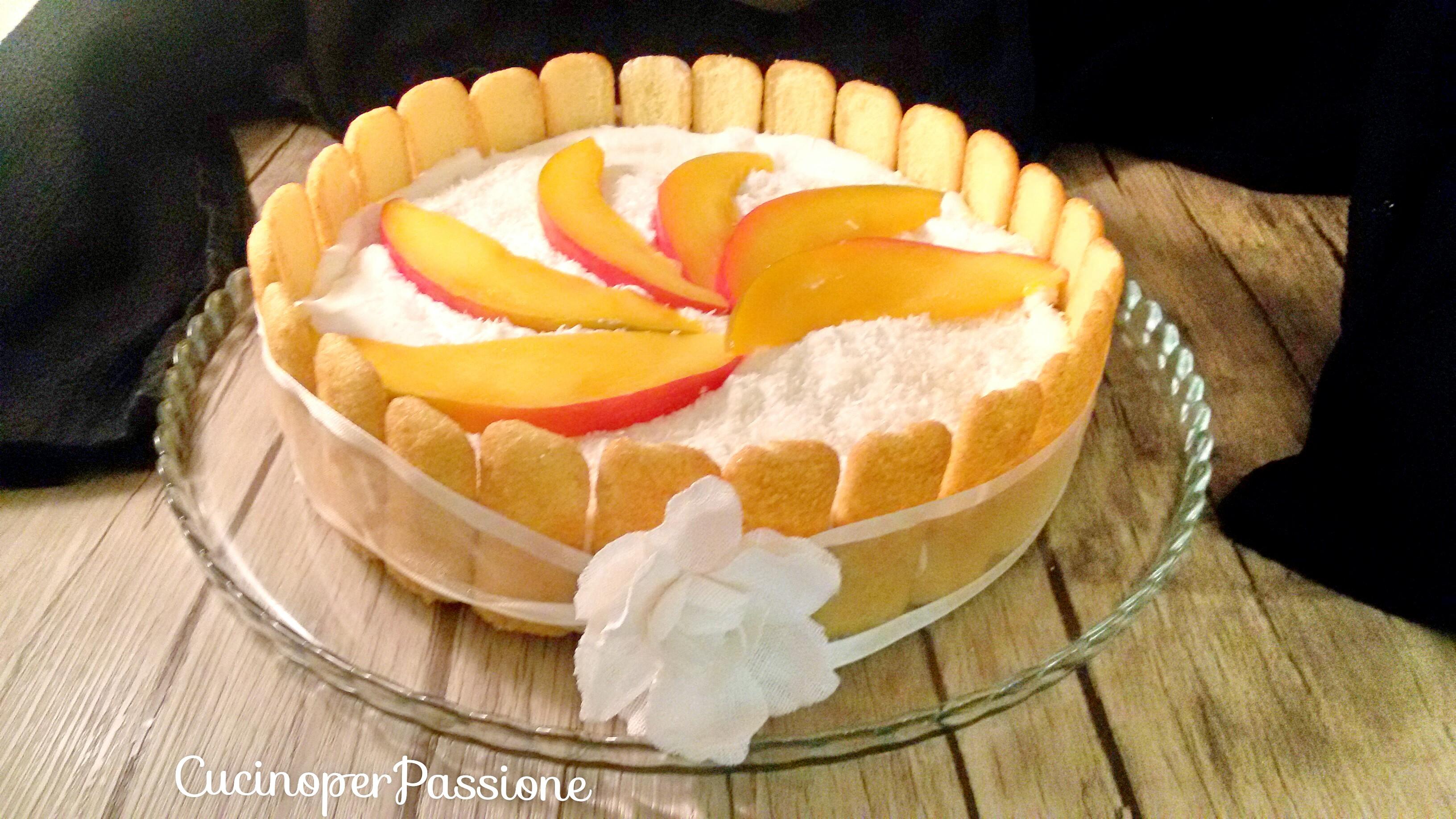 Torta fredda con frutta tropicale