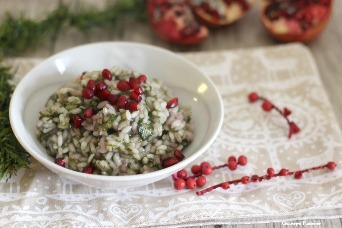 Risotto spinaci e melograno