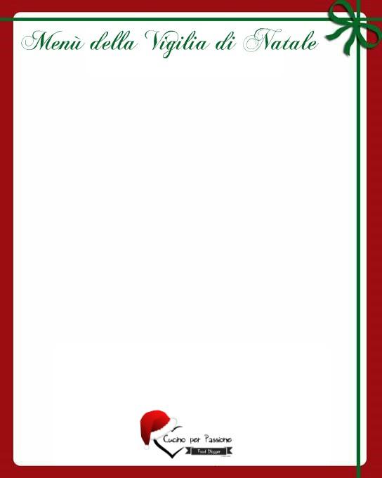 Menu Di Natale Da Stampare E Compilare.Menu Della Vigilia Di Natale Da Poter Stampare Cucino Per
