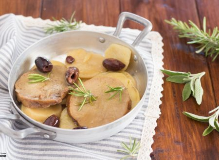 Seitan in padella con patate ed olive