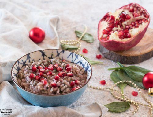 Risotto alla melagrana e spinaci