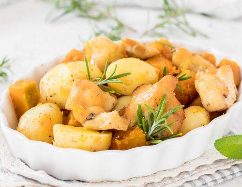 Petto di pollo con zucca e patate