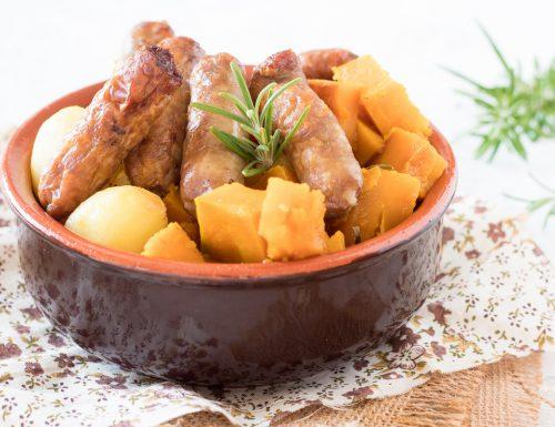 Zucca e salsiccia con patate