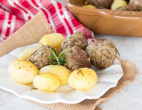 Polpette con patate al forno