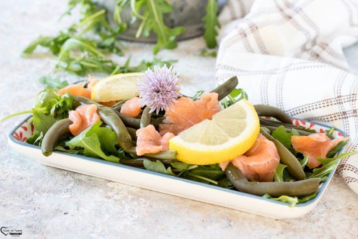 Salmone e fagiolini piatto freddo