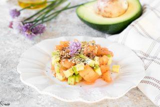 Tartare di avocado salmone e melone