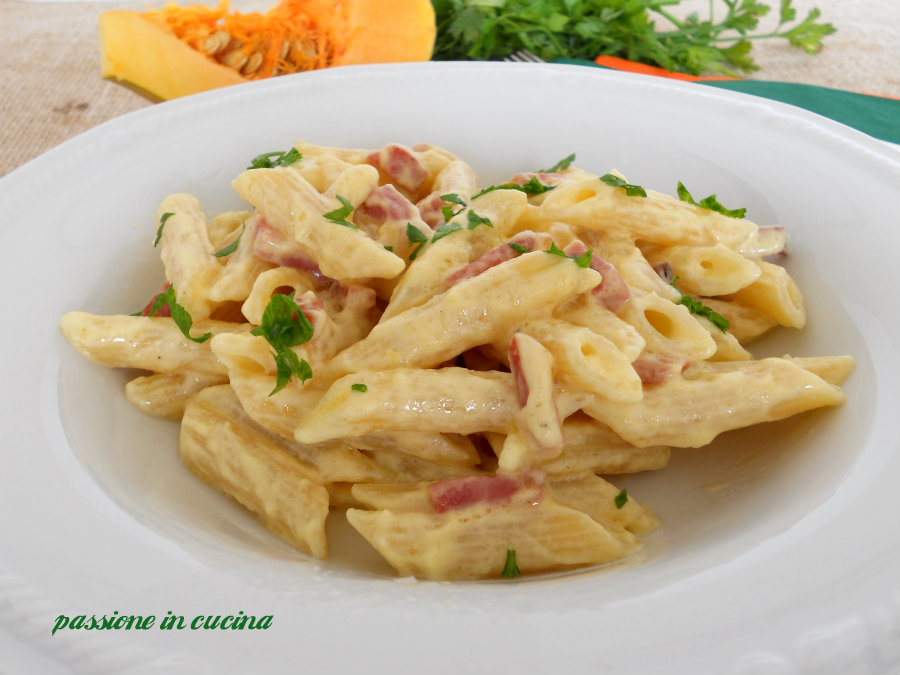 crema di zucca e pancetta, pasta, primo piatto http://blog.giallozafferano.it/cuinalory/
