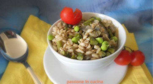 ORZOTTO CARCIOFI, ASPARAGI E PISELLI- ricetta vegetariana