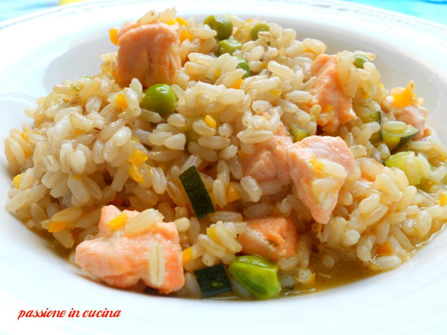 risotto al salmone e verdure